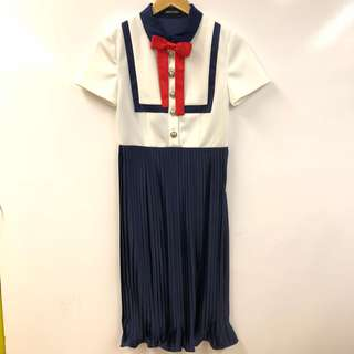 斯文裙 百褶裙Marie Elie navy and white red ribbon dress size 36