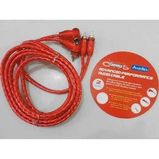 Jual Murah Ecer Grosir Aksesoris Kabel Konektor Audio Mobil Premium RCA Genexis Panjang 1 Meter
