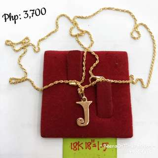 Saudi gold 18k Necklace with initial pendant