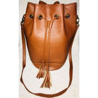 ‼️Brown Leather Bucket Bag✨