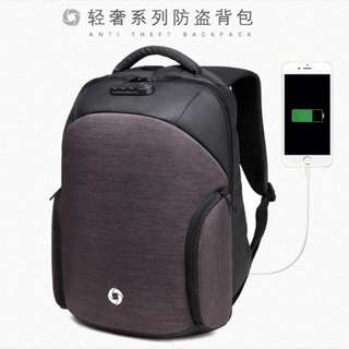 Ozuko Waterprrof USB Charging Shoulder Guard Bag 防水背包usb充电双肩防盗背包#467