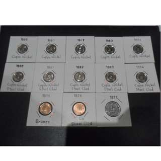 Singapore 1st series 1¢ & 5¢ coins (13pcs variety set)