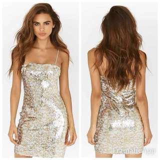 Tigermist Size XS(6) Gold Sequin Bodycon Dress