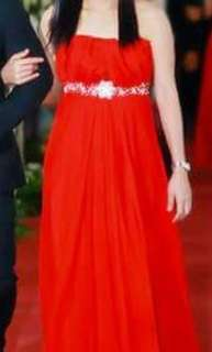 Long Red Convertible Gown