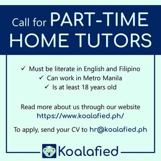 Call for Part-Time Home Tutors