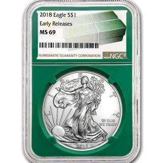 本店最後現貨 包速遞 罕有 新2018 1oz 美國銀幣 鷹洋 首發評級極好MS69 收藏投資首選 全新密封包裝 silver eagle