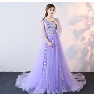 Pre order purple blue green pink fishtail cape wedding bridal prom dress gown  RB0676
