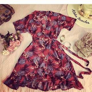 Pink floral wrap dress small to med