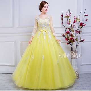 Pre order Muslimah yellow long sleeve ball wedding bridal prom dress gown  RBMWD0177