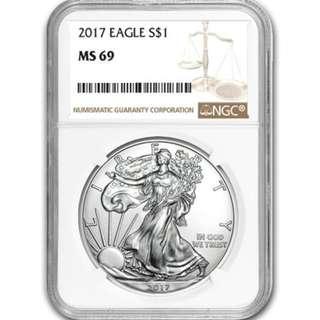 現貨 包速遞 超值 2017 1oz 美國銀幣 鷹洋 評級極好MS69 收藏投資首選 全新密封包裝 silver eagle