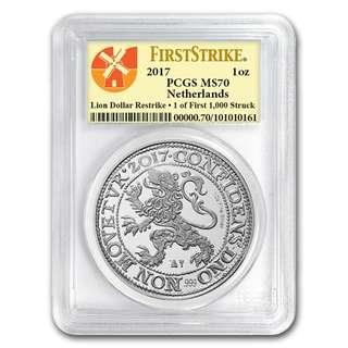 現貨 包速遞 罕有全新 2017 荷蘭銀幣 獅子 首發全球限量僅 1000 頂級接近完美 silver lion BU MS69