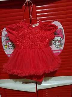 Preloved Terusan Baju Manik Rok Tutu Red
