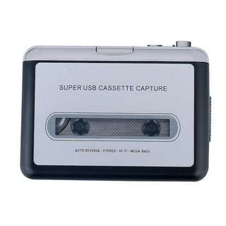 848. Portable Super USB Cassette Capture Cassette Tape to MP3 Converter and Player with Headphones Auto-Reverse Function Software Play as Walkman