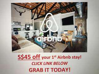 S$45 OFF AIRBNB (1st time users only; existing users can create a new email address and sign up with the link below) travel airplane trip hotel staycation plane ticket hostel Budget home rent
