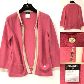 Chanel cashmere with gold chain cardigan size 36