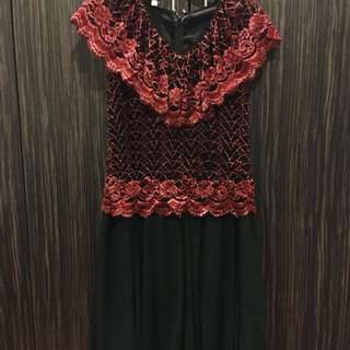 Black Evening Dress with Red Lace Details