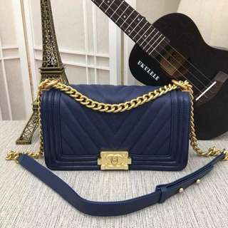 Chanel Chevron Le Boy Caviar GHW 25cm