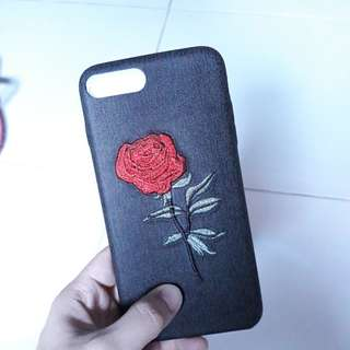 iPhone 7 Black Embroidered Rose Case