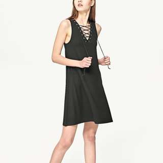 stradivarius army green lace up dress