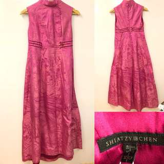 Shiatzy Chen chinese style dark pink dress 旗袍款長裙