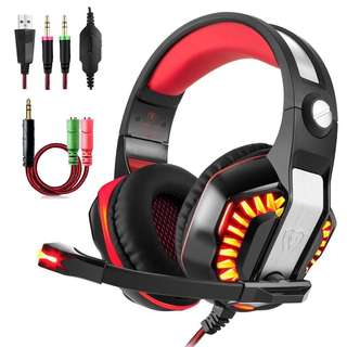 571.Beexcellent GM-2 Gaming Headset with Mic for New Xbox One PS4 PC, Xbox One Headset PS4 Headset, Over-Ear Gaming Headphones with LED Lights Volume Control Y Splitter for Laptop PC iPad Smartphones, Red