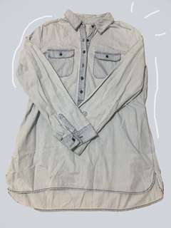 Light Acid Wash Denim Polo Shirt