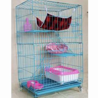 3-TIER CAT CAGE IN BLUE
