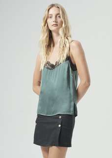 Hansen & Gretel Willow 100% Silk Lace Cami Top in Green - Size 1/8 BNWT RRP $170