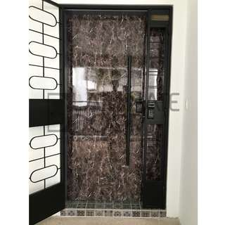 3x7ft Solid Laminate Main Door and Designer Mild Steel Gate for HDB at $1480