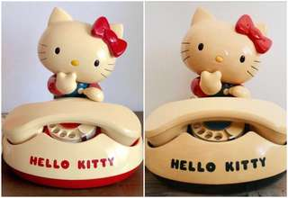 Sanrio Hello Kitty 1981 年 (田村電機製作所) 限量版人形撥輪式電話 (一對) (Made in Japan) (** 部分已經變黃 **) (** 只限北角地铁站交收 **)