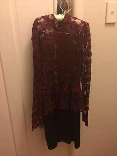 Maron lace dress