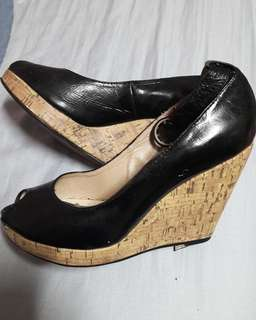 Black wedge shoes size 37(7) bought online preloved