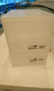 White storage shelves x2