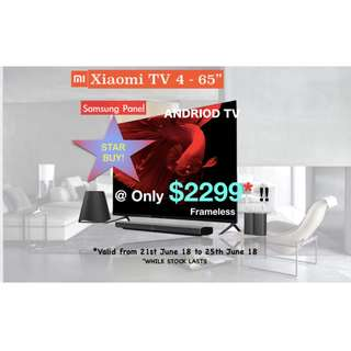 TV Xiaomi frameless design 4K 65inches Android Smart Tv
