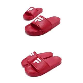 🚚 【FILA】拖鞋 S316S 男鞋 女鞋 韓系 情侶鞋 經典LOGO 輕便 紅 白(4S316S221)