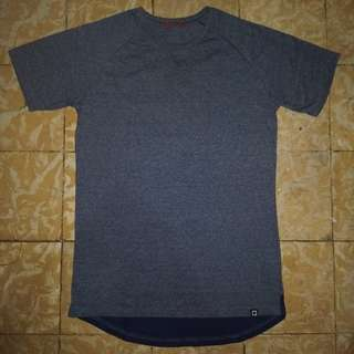 Penshoppe Relaxed Fit Hi-Low Tee (Blue Small)