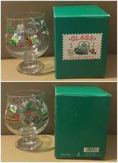 Sanrio Keroppi 青蛙仔 1991 年 玻璃大酒杯 (5.5 吋高) (Made in Japan) (** 只限北角地铁站交收 **)