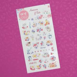 Monet Anemone and Cats Diary Deco Stickers