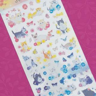 Flower and Cat Diary Deco Stickers