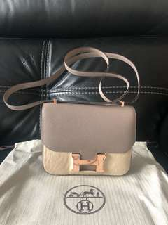 Hermes mini Constance Epsom rghw M8 Gris A