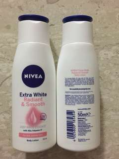 Nivea extra white radiant and smooth body lotion for dull uneven skin with vitamin E deep white essence