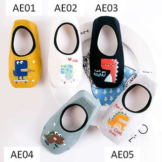 [INSTOCK] CUTE DINOSAUR DESIGNS WITH ANTI-SLIP + HEEL GRIP SOCKS FOR TODDLERS AND KIDS 1-6 YEARS OLD
