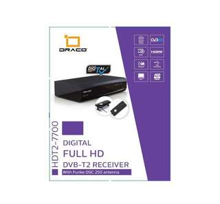 DRACO HDT2-7700 + DSC250 DVB-T2 DIGITAL TV RECEIVER BUNDLE WITH ANTENNA