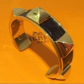 超罕有 愛馬仕 鱷魚皮 手鐲 金扣 經典釘釘款式 Crocodile Golden Ghw