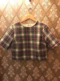 Wool style crop top tartan checkered size 10