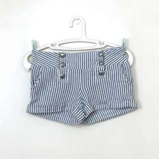 FOREVER 21 High Waisted Button Up Gray Striped Shorts