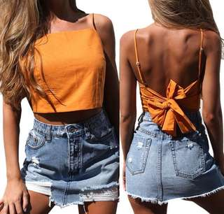 orange ribbon back top