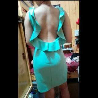 Sexy back green dress