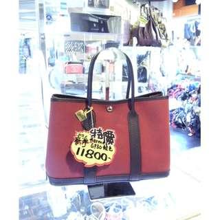 Hermes Purple Red Canvas / Dark Blue Leather Classic Garden Party 30cm Handbag Hand Bag GP30 愛馬仕 紫紅色 帆布 / 深藍色 牛皮 皮革 經典款 花園派對 30公分 手挽袋 手袋 袋