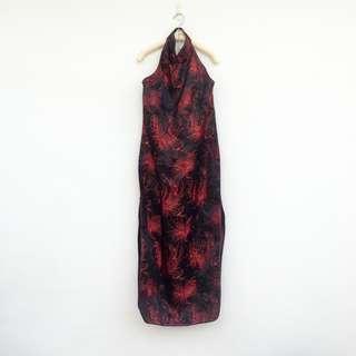 🚚 二手 黑紅 中國風 旗袍式 露背 繞頸 削肩 開叉 洋裝 明太子 620